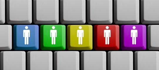 Icons auf bunter Tastatur