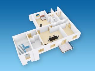 3D Querschnitt Wohnung mit Möbeln