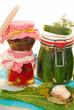 jars of homemade vegetable preserves