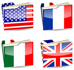 abstract uk usa france and italy folder isolated on white