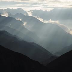Beautiful Himalayan mountain and intense lights, Nepal