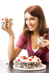 Young hungry gluttonous woman eating pie, isolated on white