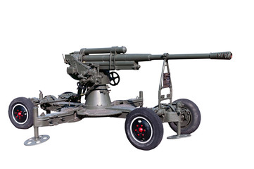 old time vintage soviet or red army museum exhibit anti-aircraft