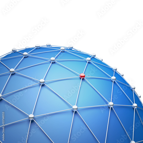 Abstract sphere as a global network.