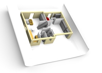 Model of house on a piece of paper.