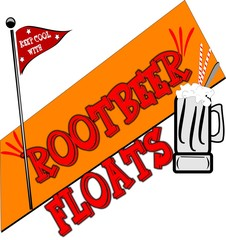 rootbeer floats background with orange splash and flag