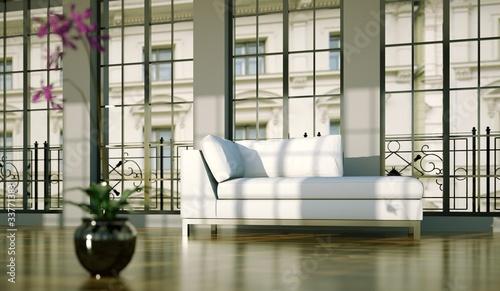 Wohndesign - weisses Sofa im Loft 2