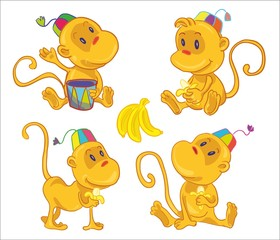 vector illustration- four little funny monces with bananas