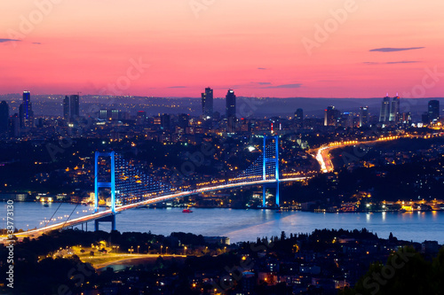 Poster Turkey Istanbul Bosporus Bridge on sunset