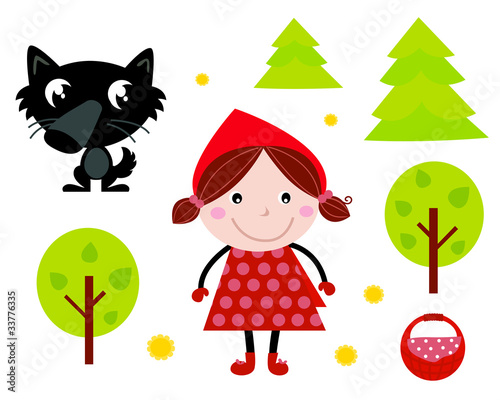 Cute Red Riding Hood, Wold & Accessories, Icons. Vector