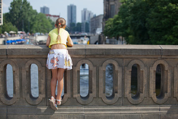 Tourist walking in berlin city.