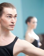 Portrait of young ballet dancer in rehearsal