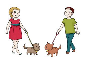 giovane coppia con cani al guinzaglio