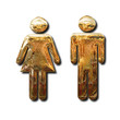 Golden man and woman signs