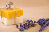 homemade soap bars with lavender flowers