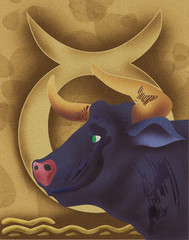 Close-up of bull with zodiac sign; Taurus