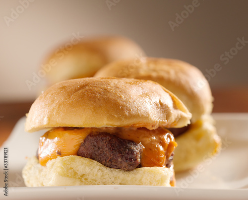 mini burger sliders shot with selective focus