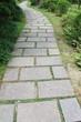 narrow long garden brick path
