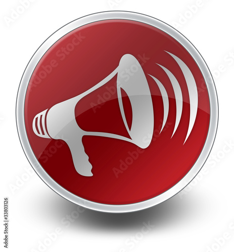 "Red Glossy Icon ""Megaphone / Announcement Symbol"""