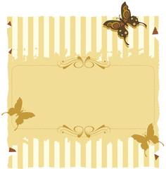 Papel convite com listras e borboletas