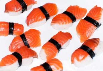 Sushi isolated against white background.