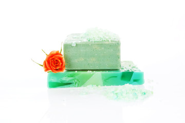 Organic soap bar isolated.