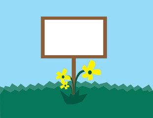 Blank sign in grassy hill with flowers.