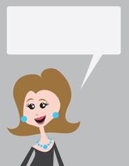 Woman talking with blank speech bubble above head.