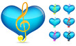 set of music note with blue heart isolated on white