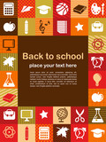 Fototapety back to school - background with education icons