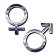 Silver male and female symbols