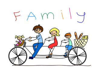детский рисунок семьи на велосипеде, вектор
