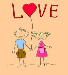 Мальчик и девочка держит сердце