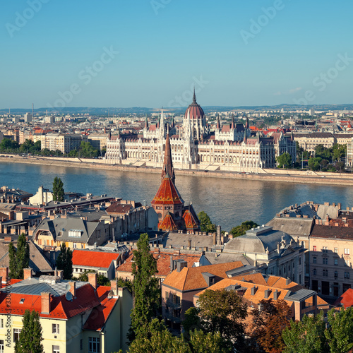 Poster Hungarian Parliament view from Buda Castle.