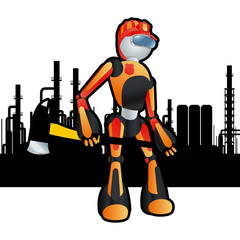 Construction site firemen robot vector background