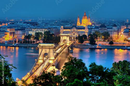 Poster Budapest Kettenbrücke und St. Stephansbasilika