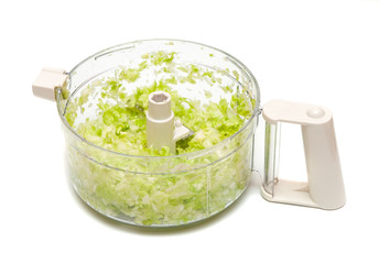 crushed salad in plastic