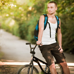 Young man on bike