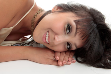 Attractive smiling woman relaxes