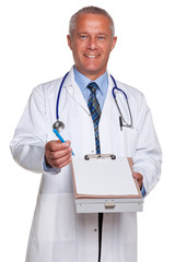 Doctor holding blank medical report