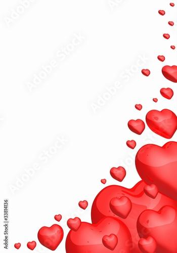 Liebesbrief Hintergrund - Rote Herzen in Ecke