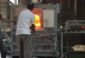 making glass at hot furnace in turkey