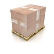 Cardboard box on wooden pallet
