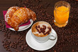 Brioches cappuccino and juice