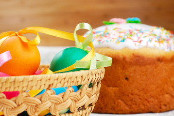 Easter bread and painted eggs