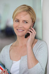 portrait of a woman on the phone