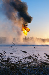 Gas flaring. Evaporation of snow.
