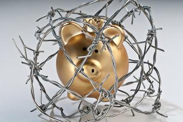 Goldenes Sparschwein mit Stacheldraht