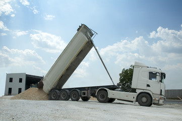 Truck unload rocks