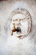 Brass water faucet and carved stone face on wall